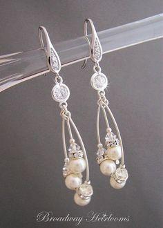 Pearl Drop Bridal Earrings Unique Artisan by BroadwayHeirlooms, $65.00 #EtsyMarketplace