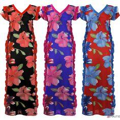 Ladies Long Nightdress Nighty Womens Kaftan Sleepwear Floral Nightwear 8-16 in…