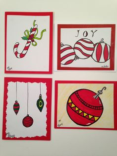 Christmas cards hand drawn red candy cane ornaments by FancyTweets