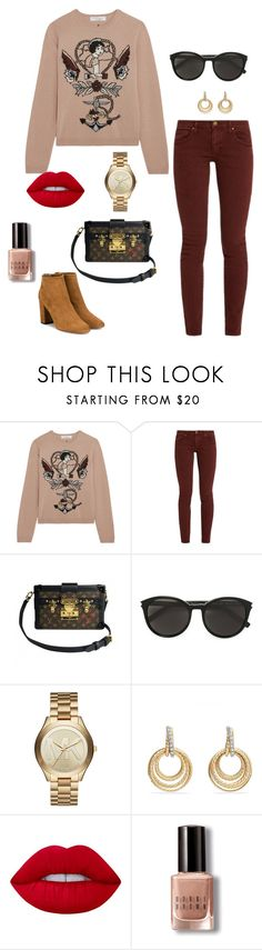 """Untitled #960"" by stylemirror ❤ liked on Polyvore featuring Valentino, The Great, Louis Vuitton, Yves Saint Laurent, Michael Kors, David Yurman, Lime Crime, Bobbi Brown Cosmetics and Aquazzura"