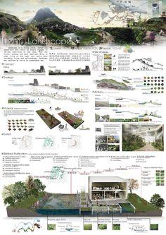 living landscape is part of architecture - Landscape Architecture Model, Architecture Board, Architecture Portfolio, Concept Architecture, Landscape Architects, Landscape Concept, Landscape Plans, Landscape Design, Presentation Board Design