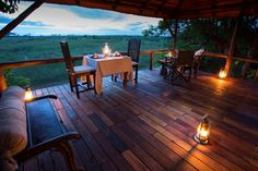 Dine in private on your deck at Selinda camp - what a romantic experience