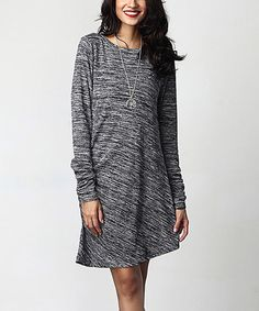 Charcoal Melange Long-Sleeve Ruched Dress by Reborn Collection #zulily #zulilyfinds