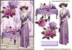 VINTAGE LADY WITH LILAC FLOWERS ON A STOOL on Craftsuprint - Add To Basket!