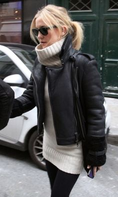 Kate Hudson wearing a Burberry leather jacket- in Paris.