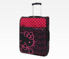 Hello Kitty Rolling Luggage: Pink + Black Dot