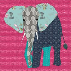 I've had a bit of a thing for Elephants recently! Here is the second of them. Shhh don't tell anyone but this one is my favourite elephant! I love his striking pose and the opportunity that he gives for fussy cuts.This pattern is provided as a 24 inch bloc...