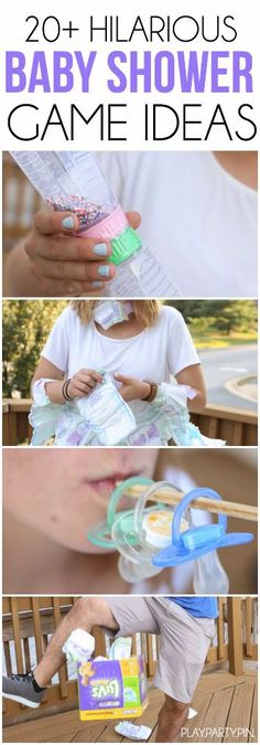 20 hilarious baby shower games that are seriously the best for large groups, for boys, for girls, or even for a coed shower! Set as fun minute to win it games, they're simple and mostly free using things you already have at home. Definitely some of the most unique baby shower games I've ever seen. I can't wait to try #12!
