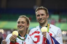 Laura Trott Photos - Gold medalist Jason Kenny of Great Britain is joined by…