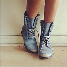 Women Mid calf Booties Casual Comfort lace-up boots – laddytopia Black Ankle Boots Outfit, Black Combat Boots, Flat Boots, Shoe Boots, Shoes Heels, Women's Boots, Cowboy Boots, Chunky Heel Shoes, Lace Up Booties