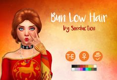 """Bun Low Hair by Simduction     New hair for females. Base game compatible, Comes in 18 colors, hat compatible. Feel free to recolour!    This hair is a """"dechained"""" version of the Bun Low Chain Hair that comes inthe City Living Expansion Pack.   TOU: Don't claim as your own, don't reupload and if you do recolors do not include the mesh.   Enjoy!  DOWNLOAD(AdFly)  DOWNLOAD(SFS)   If you like my custom content, you are welcome to Donate."""
