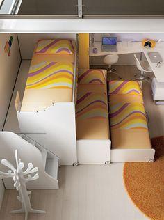 """#Arredamento #Cameretta Moretti Compact: Collezione 2012 """"Team"""" > Kids – Soluzione a #Soppalco >> ks10 #letti #scrivania #scala con #cassetti http://www.moretticompact.it/kids.htm"""