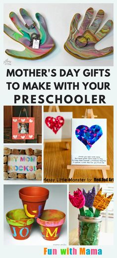 Have fun with these easy Mother's Day crafts your preschool kids can make. We have everything from handprint gifts to one of a kind artwork. We've also included some projects with free printables if you need a really fast and easy project. Mothers Day Crafts Preschool, Easy Mother's Day Crafts, Preschool Gifts, Kids Crafts, Baby Crafts, Preschool Ideas, Homemade Mothers Day Gifts, Diy Gifts For Kids, Mothers Day Presents