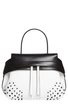 Tod's 'Mini Wave' Studded Leather Satchel