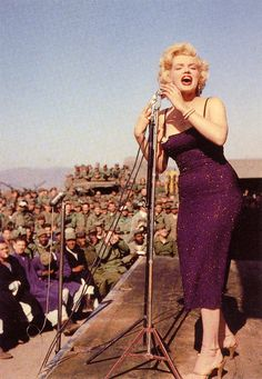 Marilyn Monroe performing for the troops in Korea, 1954.