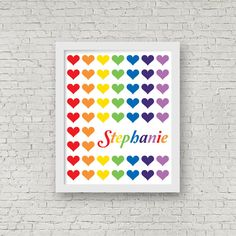 Personalised Rainbow Heart Art Print Kids by ColourscapeStudios