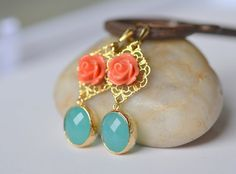 Coral Orange Rose and Turquoise Oval Dangle Earrings in Gold