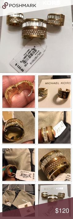 Michael Kors Pave TwoTone Barrel Ring & Earrings NWT- 100 % Authentic: Michael Kors, Pave Two Tone Barrel Ring with matching Baguette & Pave GoldTone Huggie Earrings. Ring is a Size 6. Earrings are small. No stones are missing on either pieces. Ring value: $125, Earring value: $95 Michael Kors Jewelry Earrings