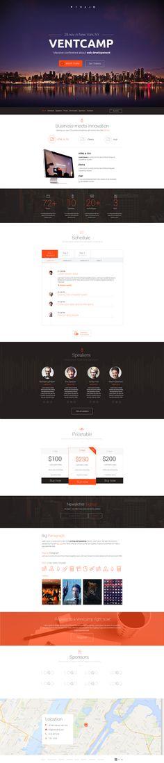 Ventcamp - Responsive Conference Landing Page by Tanya Suhodolska, via Behance