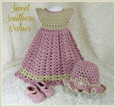 Baby Girls Rose and Beige Dress with Hat ♥ by SweetSouthernBabies, $62.50