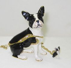 Boston Terrier Dog Jeweled Trinket Box with matching  pendant on gold toned chain style necklace comes in a satin lined box for gifting.  Free Shipping  #TreasureJourneys  #TrinketBox  #FreeShip  #Gift