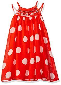 9bfcc8845 Bonnie Jean Little Girls Sleeveless Chiffon Dot Aline Party Dress Orange 5  ** For more