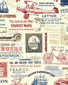 Vintage Travel - Transportation Ads - Quilt Fabrics from www.eQuilter.com