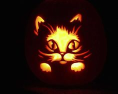 Image result for cute cat pumpkin carving