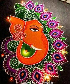 22 Best, Easy And Quick Ganesh Chaturthi 2019 Rangoli Designs Simple Rangoli Designs Images, Rangoli Designs Latest, Rangoli Designs Flower, Latest Rangoli, Rangoli Ideas, Rangoli Designs Diwali, Rangoli Designs With Dots, Flower Rangoli, Beautiful Rangoli Designs