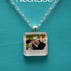 Mini Polaroid Necklace  This would make a sweet charm for a bracelet if you don't want to be the girl on the subway with family photos around your neck.