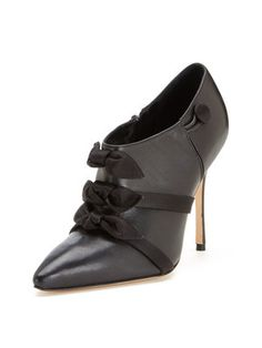 Manolo Blahnik Seget Leather Pointed-Toe Bow Bootie