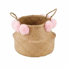MAYA Basketwork Basket with Pink Pompoms