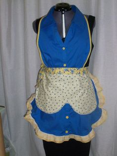 Blue and yellow apron made from a woman's blouse and a cafe' curtain.