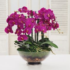 Quality Silk Orchid Centerpiece. Silk Flower Arrangements. High-end luxury home décor.
