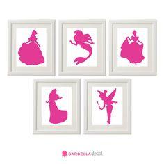 Disney Princess Silhouette Wall art  Disney Baby door GardellaGlobal, $6.50