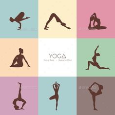 Buy Yoga Poses Woman's Silhouette by SonneOn on GraphicRiver. Vector illustration of Yoga poses woman's silhouette Yoga Poses For Men, Dog Poses, Woman Silhouette, Silhouette Vector, Logo Lune, Yoga Flyer, Zen, Yoga Logo, Yoga Motivation