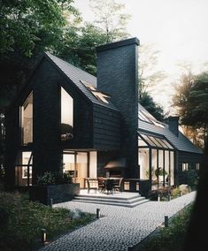 ideas exterior brick wall architecture for 2019 Black Exterior, Modern Exterior, Exterior Design, Door Design, Wall Design, Design Art, Dream House Exterior, Exterior House Colors, Wall Exterior