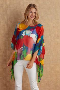 Soft Surroundings Tops - Plus-size Silk Colours Tunic Modest Dresses, Modest Outfits, Modest Fashion, Hijab Fashion, Casual Outfits, Fashion Dresses, Sweatshirt Dress, Womens Fashion Online, Blouse Designs