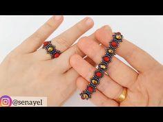 Zarif Yüzük & Bileklik Yapımı. Super Easy Ring Making. Beaded Bracelet. Beading Tutorial - YouTube Beaded Bracelets Tutorial, Seed Bead Bracelets, Jewelry Bracelets, Jewelery, Beaded Jewelry Designs, Bead Jewellery, Crochet Bracelet, Beaded Rings, Beading Tutorials