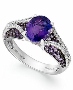 Sterling Silver Ring, Amethyst (2-1/3 ct. t.w.) and White Topaz (3/4 ct. t.w.) Oval Pave Ring