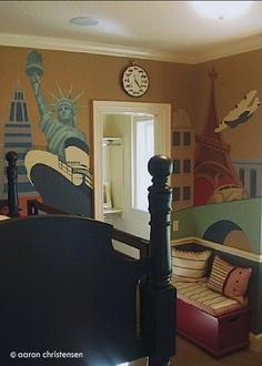 Travel themed bedrooms on pinterest kid bedrooms themed for Celebrity kids bedroom designs