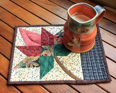 Maple Leaf Mug Rug Patchwork Snack Mat Quilted Fall Mini