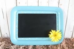 http://www.etsy.com/listing/110275032/magnetic-chalkboard-vintage-repurposed  $18.00  This magnetic chalkboard is repurposed from a vintage tray! The bottom right corner has a lovely yellow flower, symbolic of the beauty of nature.