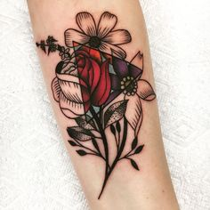 My Wife's fresh floral stippling tattoo by Alexx Colombo @ Tattoo Lou's Selden NY #ad