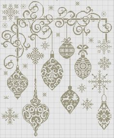 Cross-stitch Christmas in Monochrome ~ I bet this will look gorgeous if using gold or silver strands