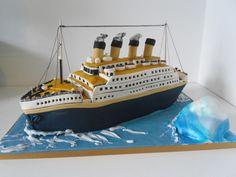 Titanic cake by auroracakes (Dawn), Themed Birthday Cakes, Themed Cakes, 5th Birthday, Birthday Ideas, Fab Cakes, Crazy Cakes, Titanic Cake, Rms Titanic, Unique Cakes