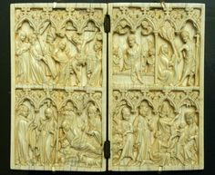 Passion; lower register: Annunciation, Nativity, Shepherds and Magi. Ivory diptych, late 14th c., MAAB