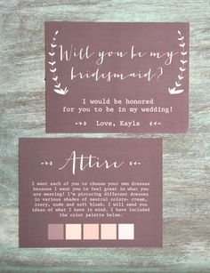 these could not be any more amazing. will you be my bridesmaid cards AND an attire card with color palette