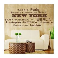 "Style and Apply World Cities Wall Decal Size: 20"" H x 46"" W, Color: Royal Blue"