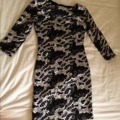 LF sequin mini dress size xs Brand new with tag never worn, 3/4 sleeves, open back, sequin with black and silver sequins, mini dress LF Dresses Mini